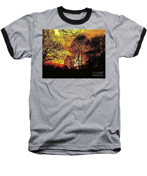 Fiery Red Sunset Baseball T-Shirt by Carol F Austin