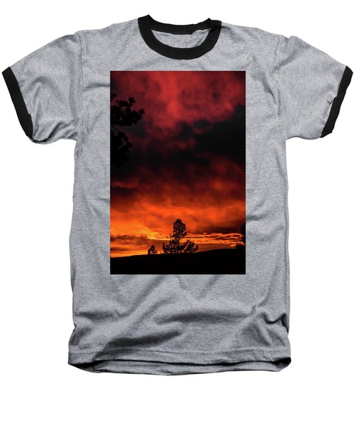 Fiery Sky Baseball T-Shirt by Jason Coward