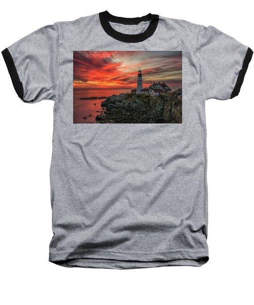 Fiery Sunrise At Portland Head Light Baseball T-Shirt
