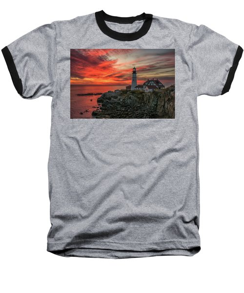 Fiery Sunrise At Portland Head Light Baseball T-Shirt