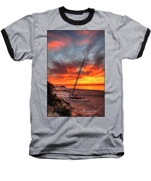 Fiery Sunset Baseball T-Shirt by John Loreaux