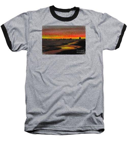 Baseball T-Shirt featuring the digital art Fiery Sunset by Mariola Bitner