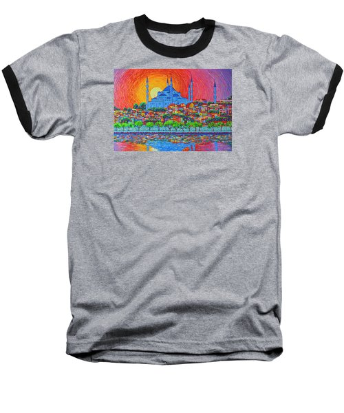 Fiery Sunset Over Blue Mosque Hagia Sophia In Istanbul Turkey Baseball T-Shirt