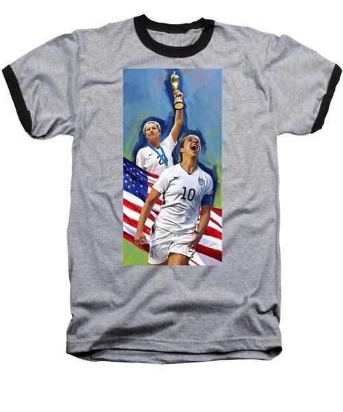 Baseball T-Shirt featuring the painting Fifa World Cup U.s Women Soccer Carli Lloyd Abby Wambach Artwork by Sheraz A