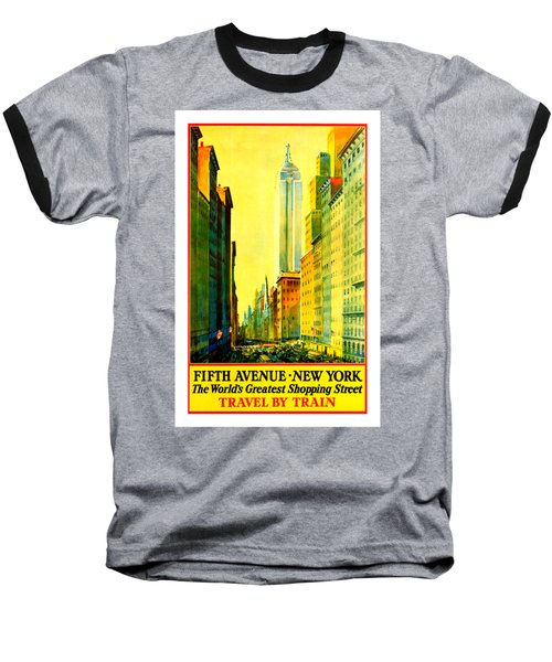 Fifth Avenue New York Travel By Train 1932 Frederick Mizen Baseball T-Shirt by Peter Gumaer Ogden Collection