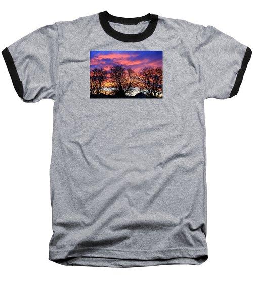 Baseball T-Shirt featuring the painting Filigree Sunset by Nareeta Martin