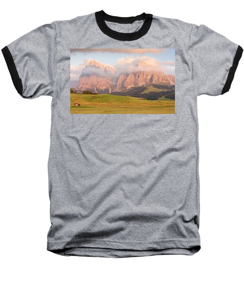 Final Light Hits The Langkofel And Sassoungo Baseball T-Shirt