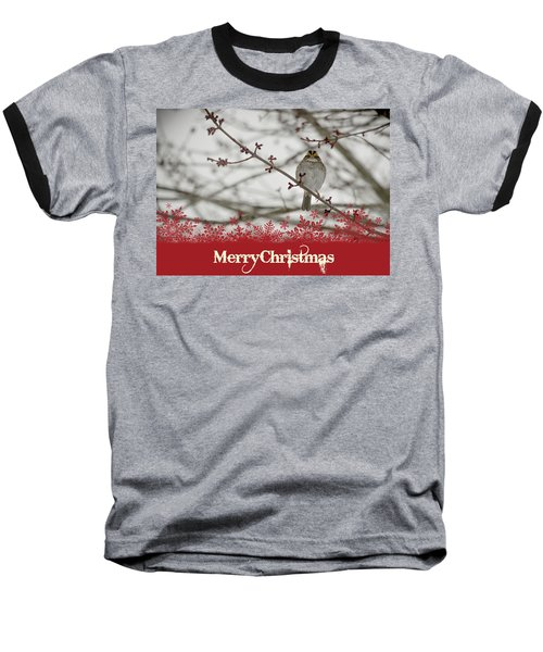 Baseball T-Shirt featuring the mixed media Finch Christmas by Trish Tritz