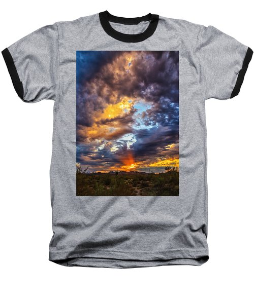 Finger Painted Sunset Baseball T-Shirt by Rick Furmanek