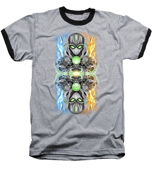 Fire And Ice Alien Time Machine Baseball T-Shirt