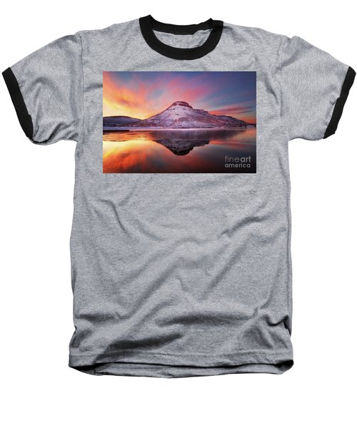 Fire And Ice - Flatiron Reservoir, Loveland Colorado Baseball T-Shirt by Ronda Kimbrow