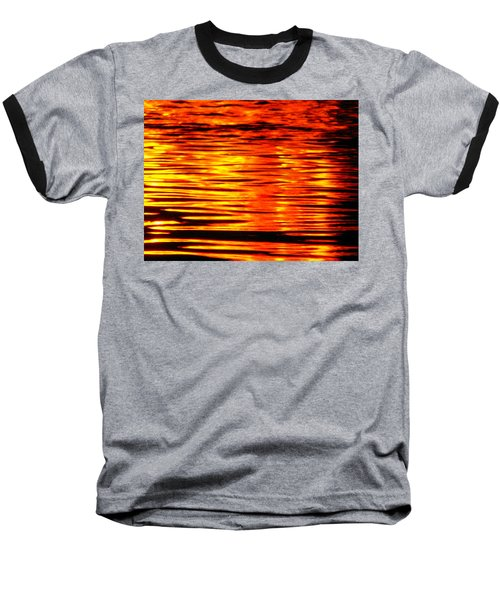 Fire At Night On The Water Baseball T-Shirt