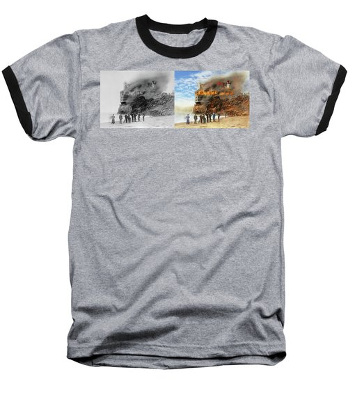 Baseball T-Shirt featuring the photograph Fire - Cliffside Fire 1907 - Side By Side by Mike Savad