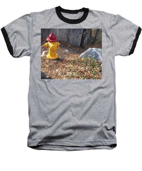 Baseball T-Shirt featuring the photograph Fire Hydrant Checking Its Facerock by Richard W Linford