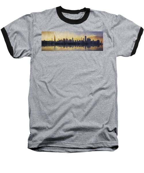 Fire In The Sky Chicago At Sunset Baseball T-Shirt by Scott Norris