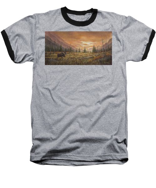 Baseball T-Shirt featuring the painting Fire In The Sky by Kim Lockman