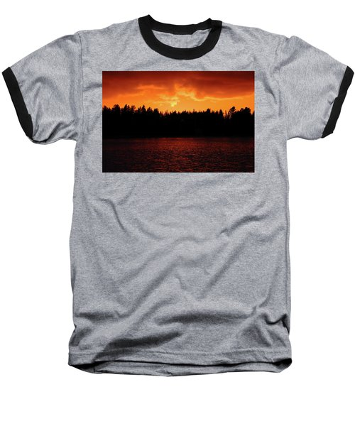 Fire In The Sky Baseball T-Shirt by Teemu Tretjakov