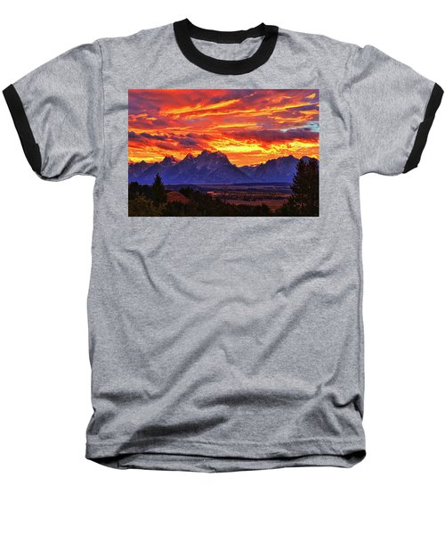 Fire In The Teton Sky Baseball T-Shirt by Greg Norrell