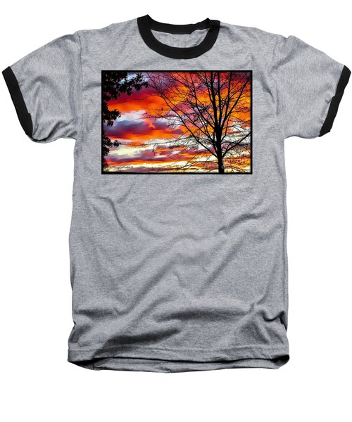 Fire Inthe Sky Baseball T-Shirt by MaryLee Parker