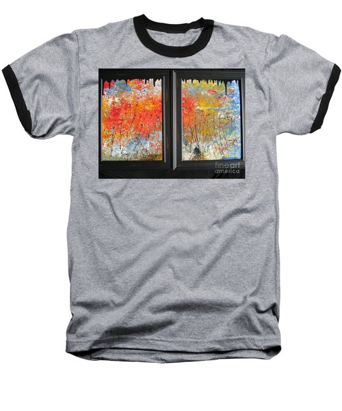 Baseball T-Shirt featuring the painting Fire On The Prairie by Jacqueline Athmann