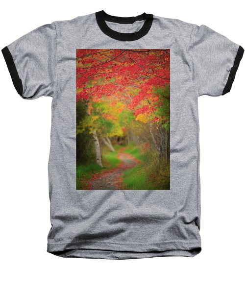 Baseball T-Shirt featuring the photograph Fire Red Path  by Emmanuel Panagiotakis
