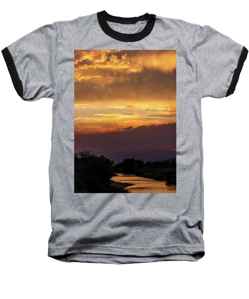 Fire Sky At Sunset Baseball T-Shirt