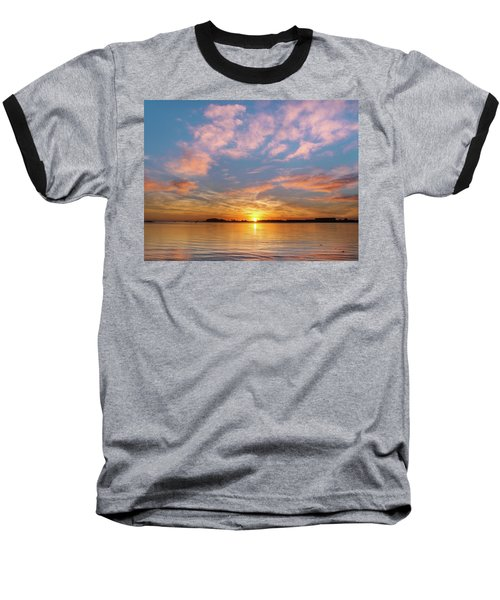 Fire Sunset On Humboldt Bay Baseball T-Shirt