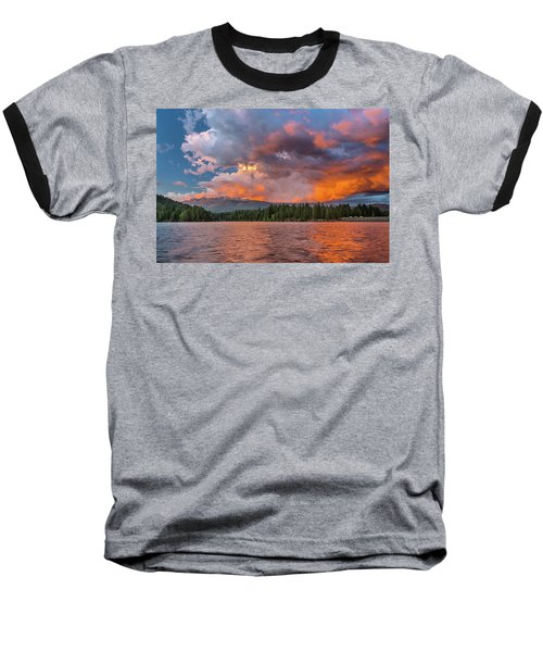 Fire Sunset Over Shasta Baseball T-Shirt