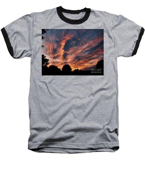 Fire Swept Sky  Baseball T-Shirt by Christy Ricafrente