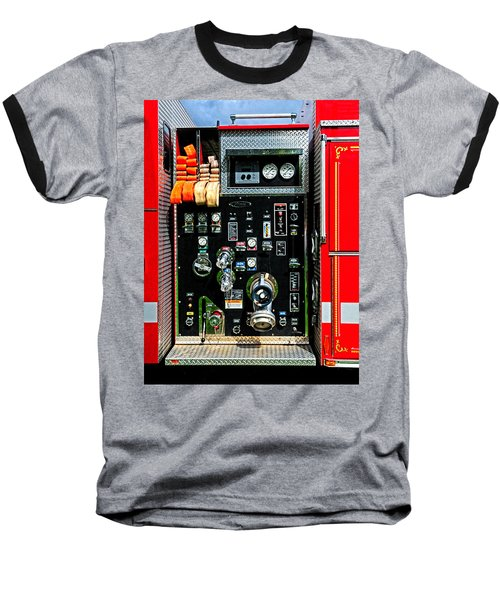 Fire Truck Control Panel Baseball T-Shirt by Dave Mills