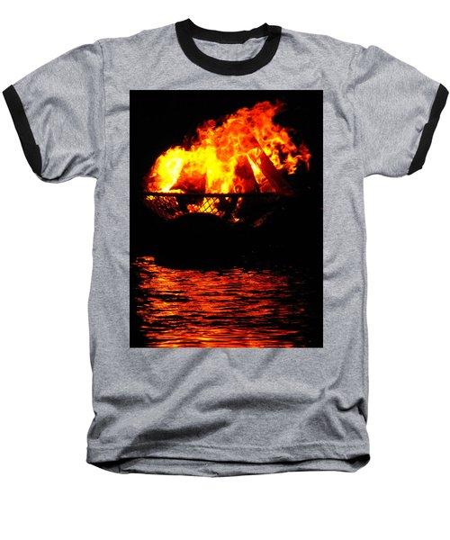 Fire Water Illuminates The Night Baseball T-Shirt