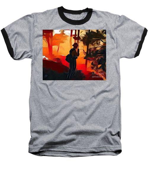 Firefighter On White Draw Fire Baseball T-Shirt by Bill Gabbert
