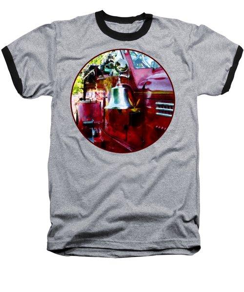 Fireman - Bell On Fire Engine Baseball T-Shirt by Susan Savad