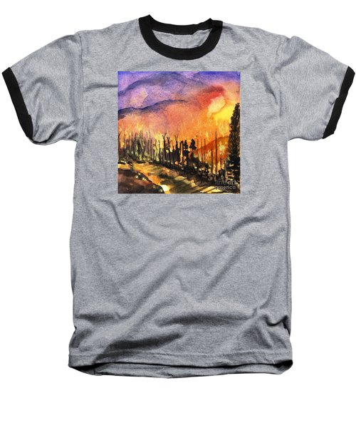 Fires In Our Mountains Tonight Baseball T-Shirt by Randy Sprout
