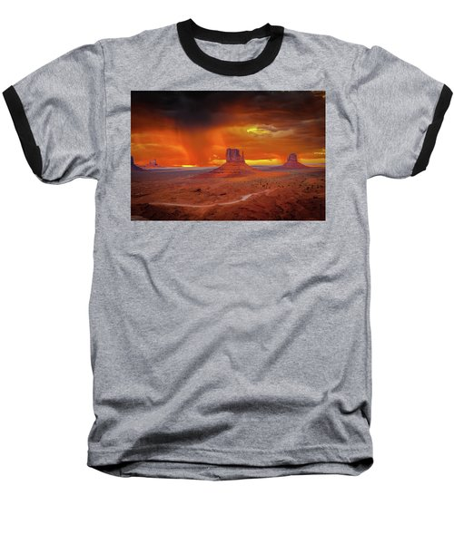 Firestorm Over The Valley Baseball T-Shirt by Mark Dunton