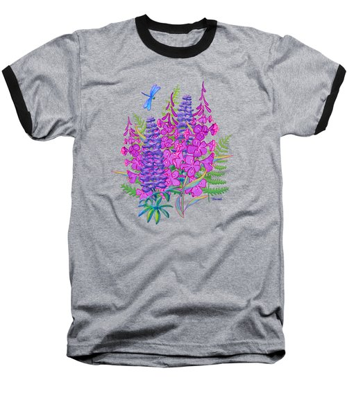 Fireweed And Lupine T Shirt Design Baseball T-Shirt