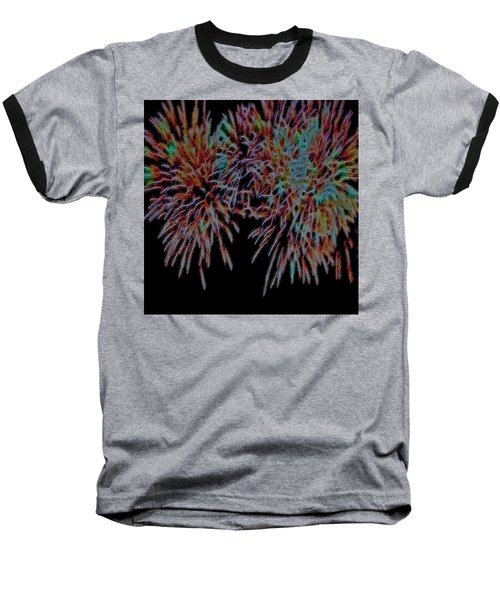 Fireworks Abstract Baseball T-Shirt by Cathy Anderson