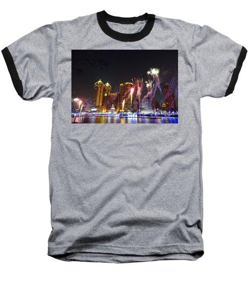 Fireworks Along The Love River In Taiwan Baseball T-Shirt by Yali Shi