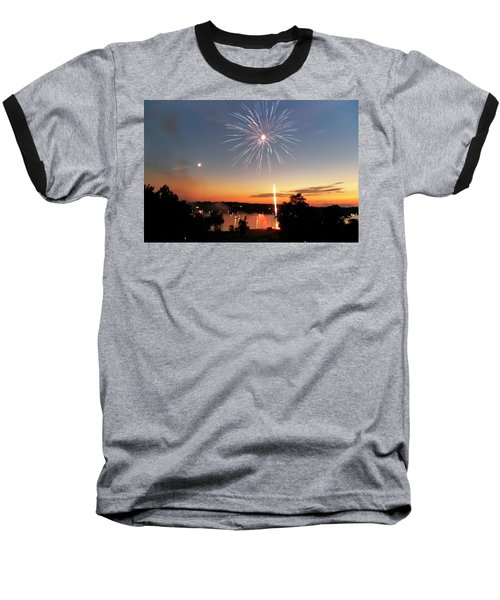 Fireworks And Sunset Baseball T-Shirt