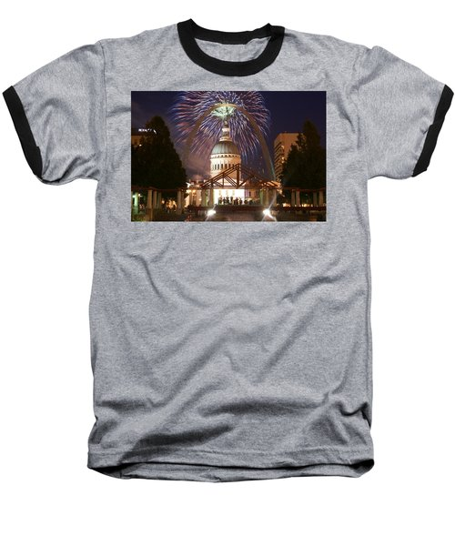 Fireworks At The Arch 1 Baseball T-Shirt