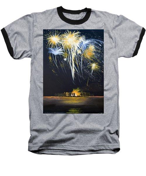 Fireworks Bonfire On The West Bar Baseball T-Shirt