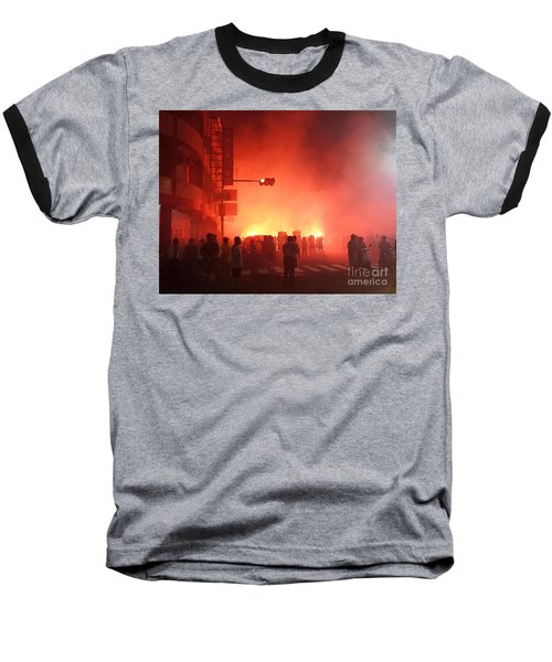 Baseball T-Shirt featuring the photograph Fireworks During A Temple Procession by Yali Shi