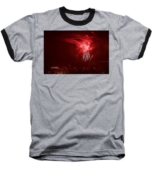 Fireworks In Red And White Baseball T-Shirt