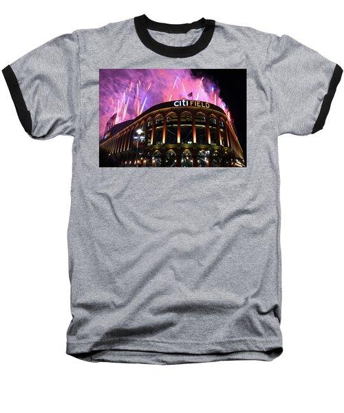 Fireworks Night At Citifield Baseball T-Shirt by James Kirkikis