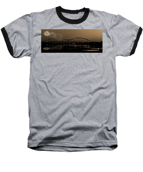 Fireworks Over The Mississippi Baseball T-Shirt