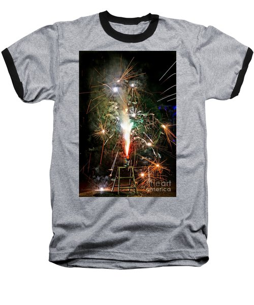 Fireworks Baseball T-Shirt by Vivian Krug Cotton