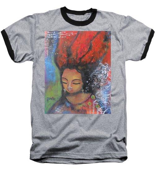 Firey Hair Girl Baseball T-Shirt by Prerna Poojara