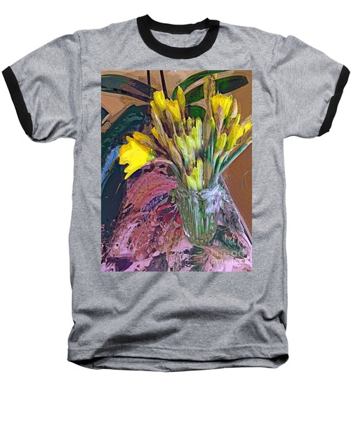 First Daffodils Baseball T-Shirt by Alexis Rotella