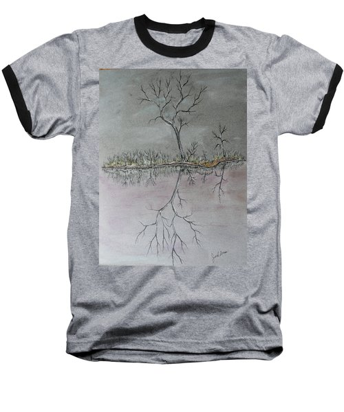 Baseball T-Shirt featuring the drawing First Frost by Jack G Brauer