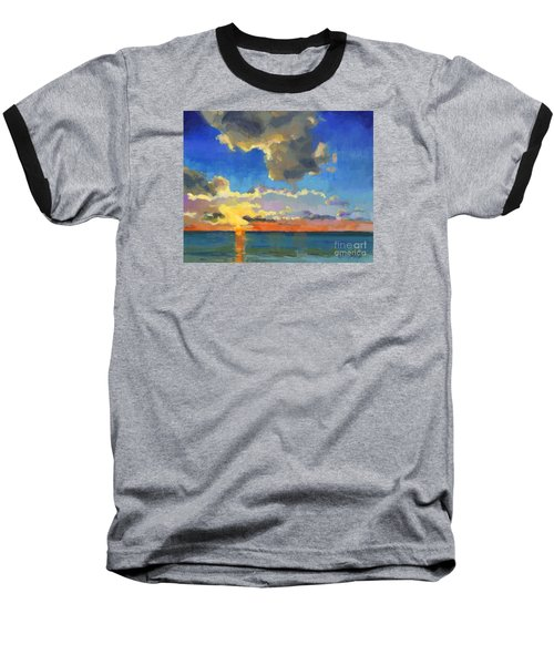 Baseball T-Shirt featuring the painting First Light by Nancy  Parsons